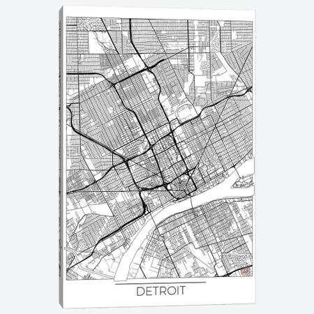 Detroit Minimal Urban Blueprint Map Canvas Print #HUR112} by Hubert Roguski Canvas Art
