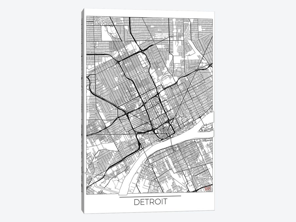 Detroit Minimal Urban Blueprint Map by Hubert Roguski 1-piece Canvas Artwork