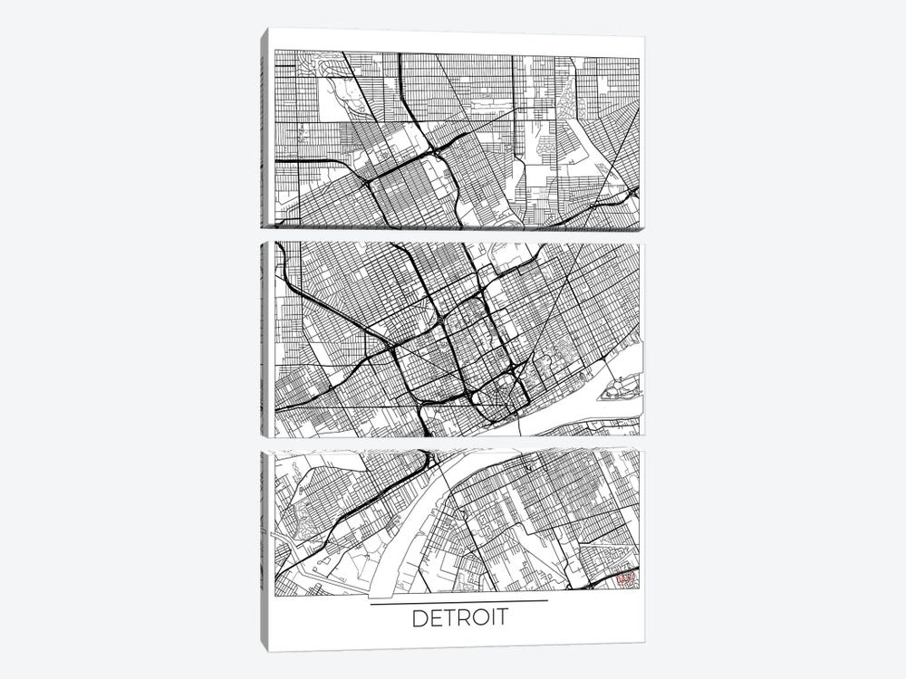 Detroit Minimal Urban Blueprint Map by Hubert Roguski 3-piece Canvas Wall Art