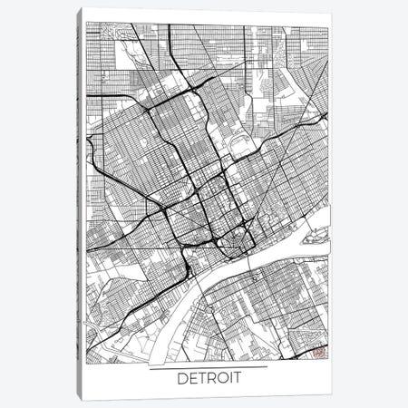 Detroit Minimal Urban Blueprint Map Canvas Print #HUR112} by Hubert Roguski Canvas Art