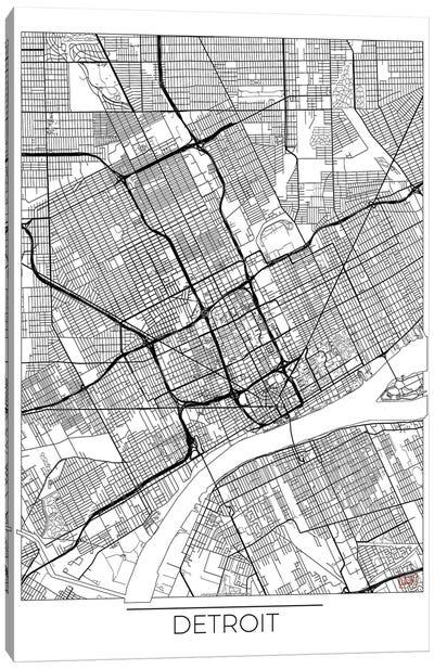 Detroit Minimal Urban Blueprint Map Canvas Art Print