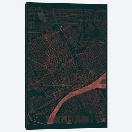 Detroit Infrared Urban Blueprint Map Canvas Print #HUR113} by Hubert Roguski Canvas Artwork
