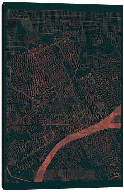 Detroit Infrared Urban Blueprint Map Canvas Art Print