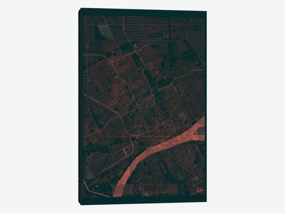Detroit Infrared Urban Blueprint Map by Hubert Roguski 1-piece Canvas Print