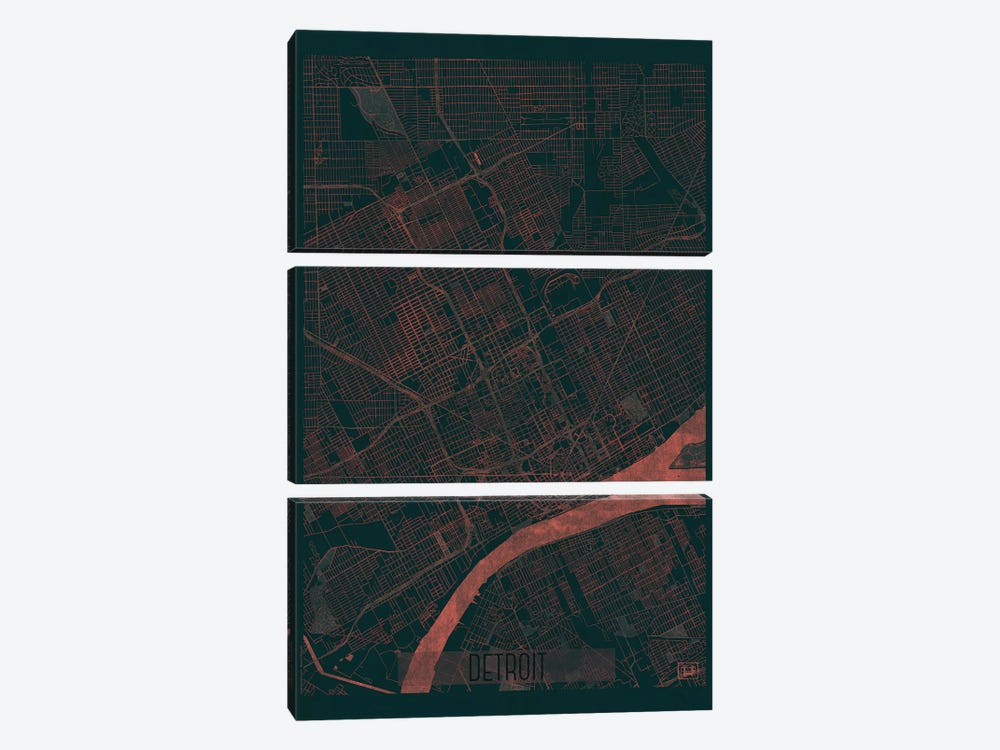 Detroit Infrared Urban Blueprint Map by Hubert Roguski 3-piece Art Print