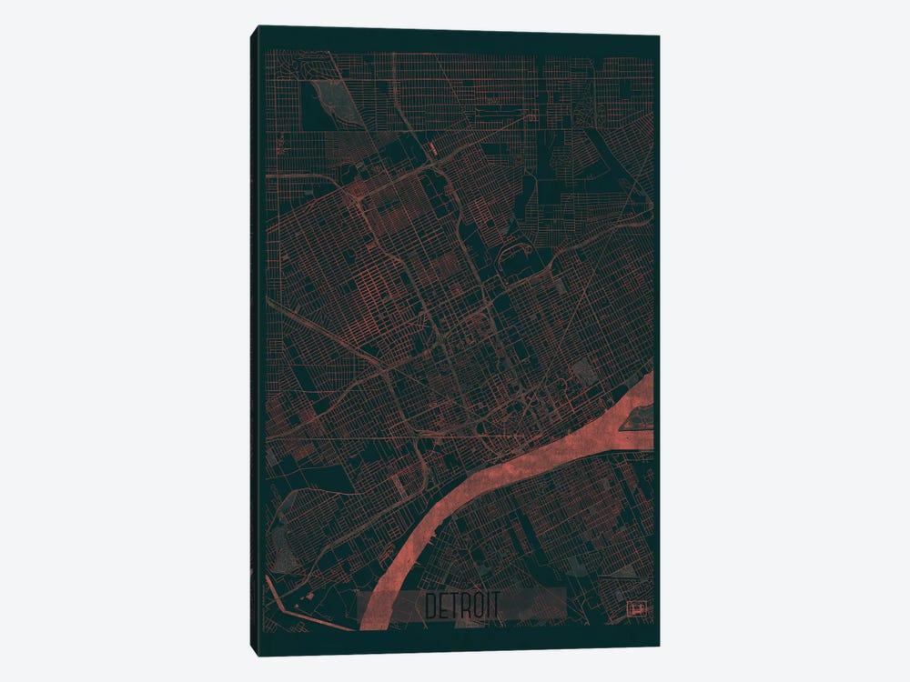 Detroit Infrared Urban Blueprint Map by Hubert Roguski 1-piece Canvas Print