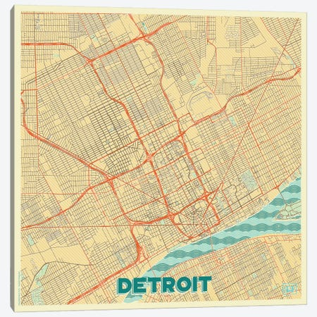 Detroit Retro Urban Blueprint Map Canvas Print #HUR114} by Hubert Roguski Art Print