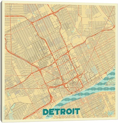 Detroit Retro Urban Blueprint Map Canvas Art Print