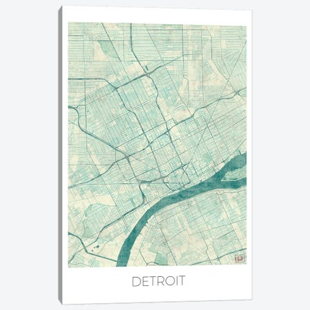 Detroit Vintage Blue Watercolor Urban Blueprint Map Canvas Print #HUR115} by Hubert Roguski Canvas Print