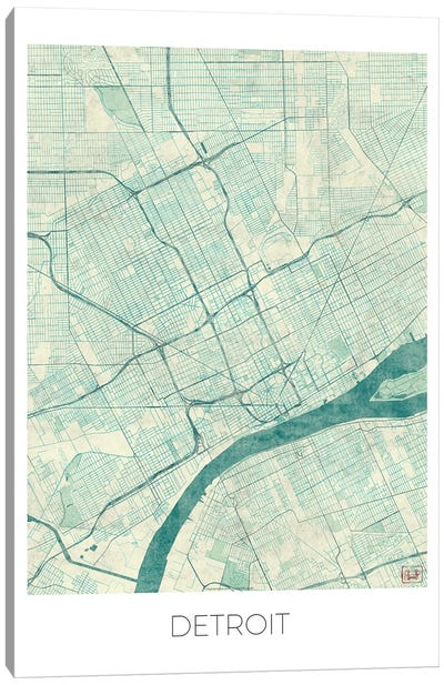 Detroit Vintage Blue Watercolor Urban Blueprint Map Canvas Art Print