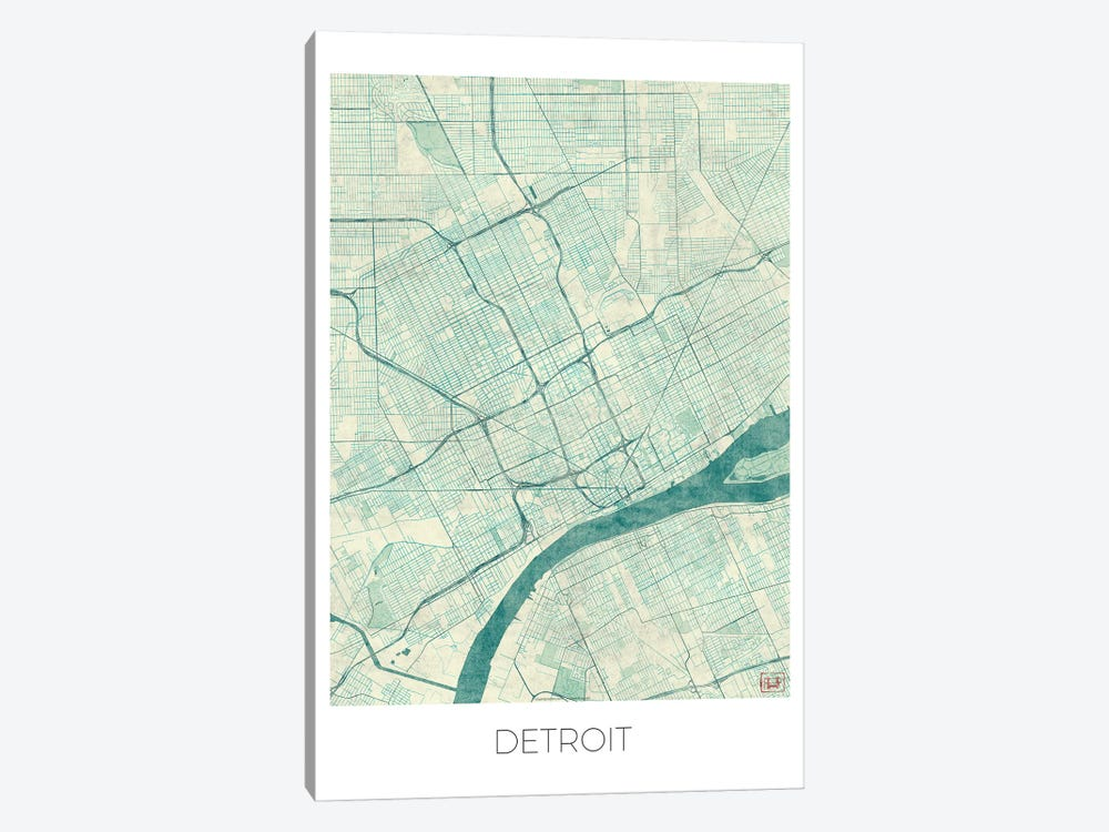 Detroit Vintage Blue Watercolor Urban Blueprint Map by Hubert Roguski 1-piece Art Print