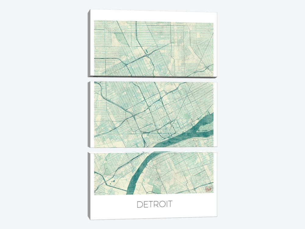 Detroit Vintage Blue Watercolor Urban Blueprint Map by Hubert Roguski 3-piece Canvas Print