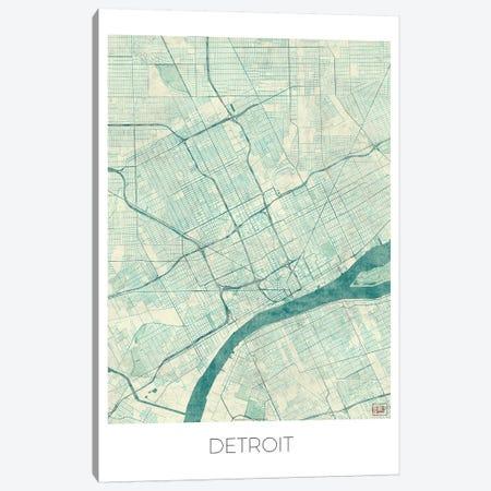 Detroit Vintage Blue Watercolor Urban Blueprint Map Canvas Print #HUR115} by Hubert Roguski Canvas Print