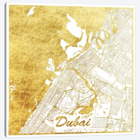 Dubai Gold Leaf Urban Blueprint Map Canvas Print #HUR116} by Hubert Roguski Art Print