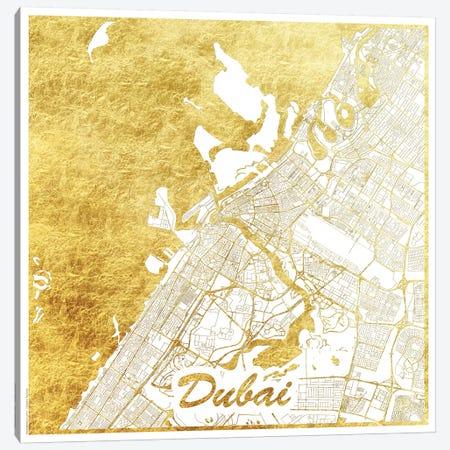 Dubai Gold Leaf Urban Blueprint Map Canvas Print #HUR116} by Hubert Roguski Art Print