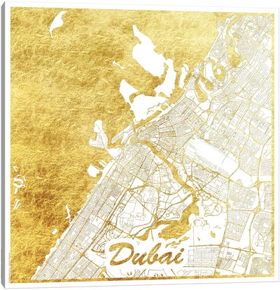 Dubai Gold Leaf Urban Blueprint Map Canvas Art Print