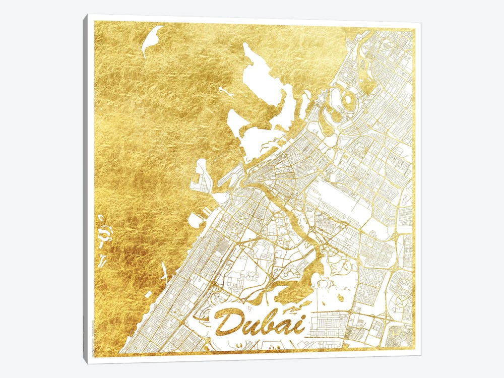 Dubai Gold Leaf Urban Blueprint Map 1-piece Canvas Wall Art