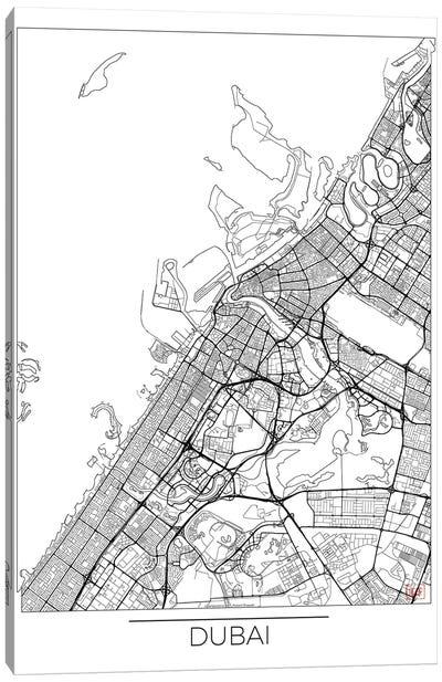 Dubai Minimal Urban Blueprint Map Canvas Art Print