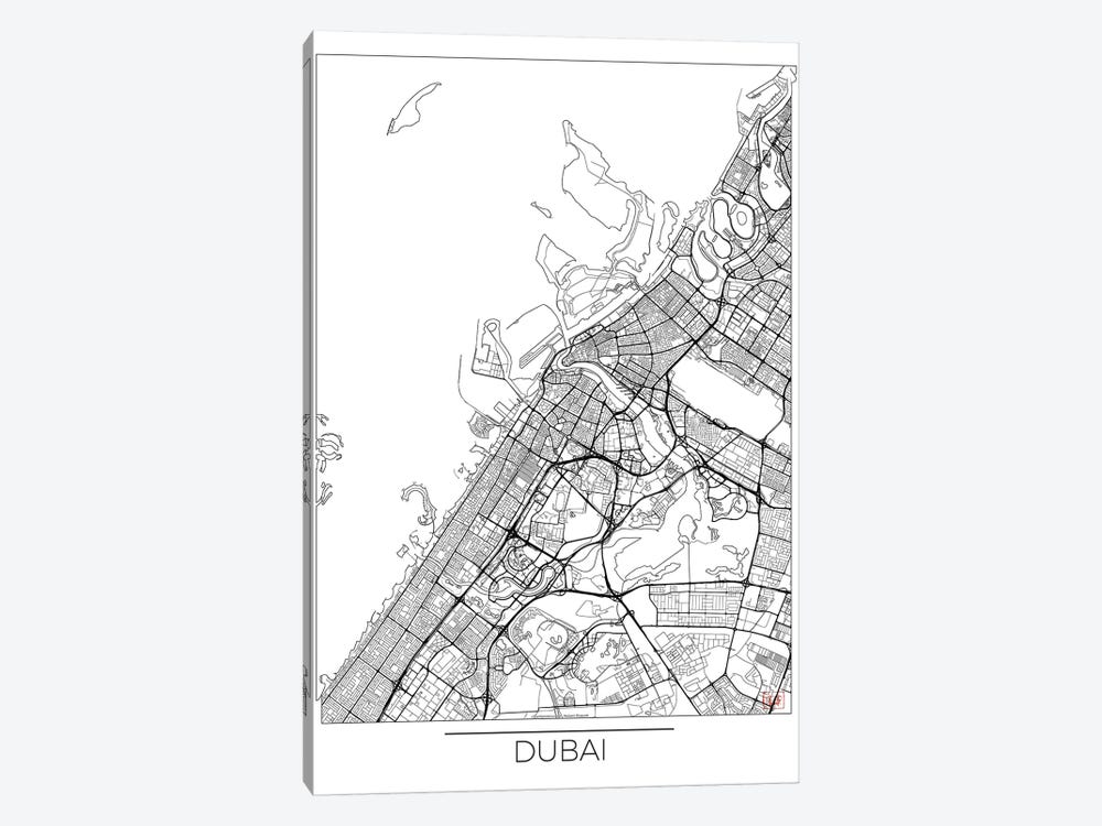Dubai Minimal Urban Blueprint Map 1-piece Canvas Art Print