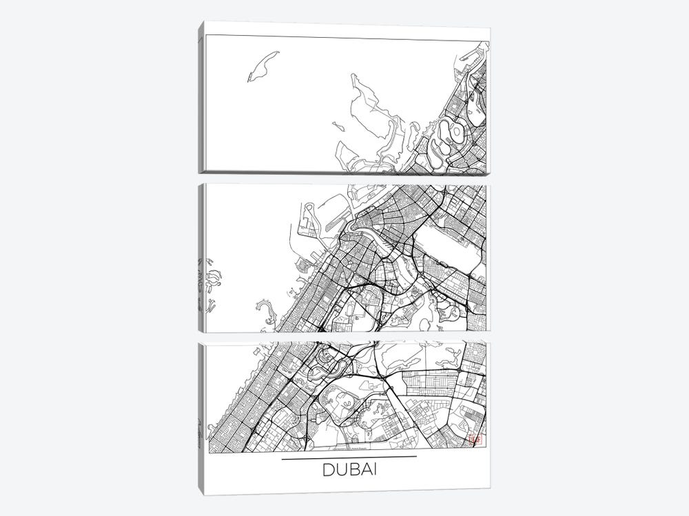 Dubai Minimal Urban Blueprint Map 3-piece Canvas Art Print