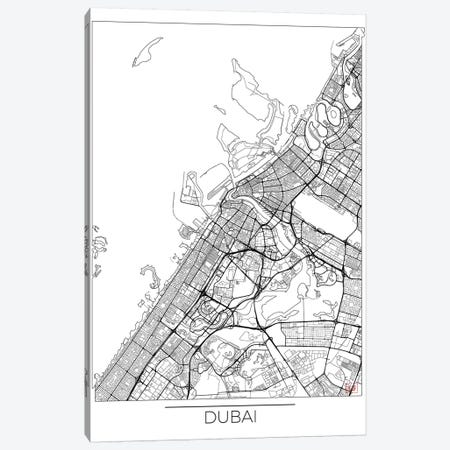 Dubai Minimal Urban Blueprint Map 3-Piece Canvas #HUR117} by Hubert Roguski Canvas Print