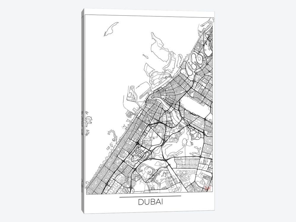 Dubai Minimal Urban Blueprint Map by Hubert Roguski 1-piece Canvas Art Print