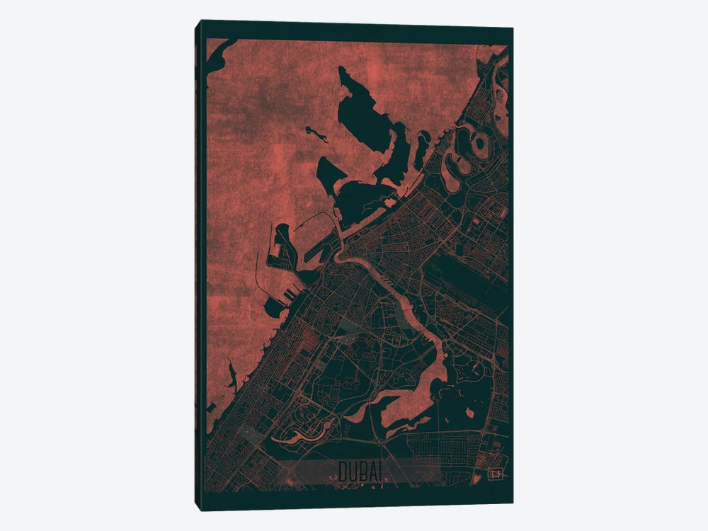 Dubai Infrared Urban Blueprint Map by Hubert Roguski 1-piece Canvas Artwork