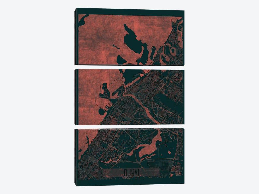 Dubai Infrared Urban Blueprint Map by Hubert Roguski 3-piece Canvas Artwork