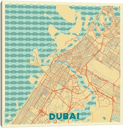 Dubai Retro Urban Blueprint Map Canvas Art Print