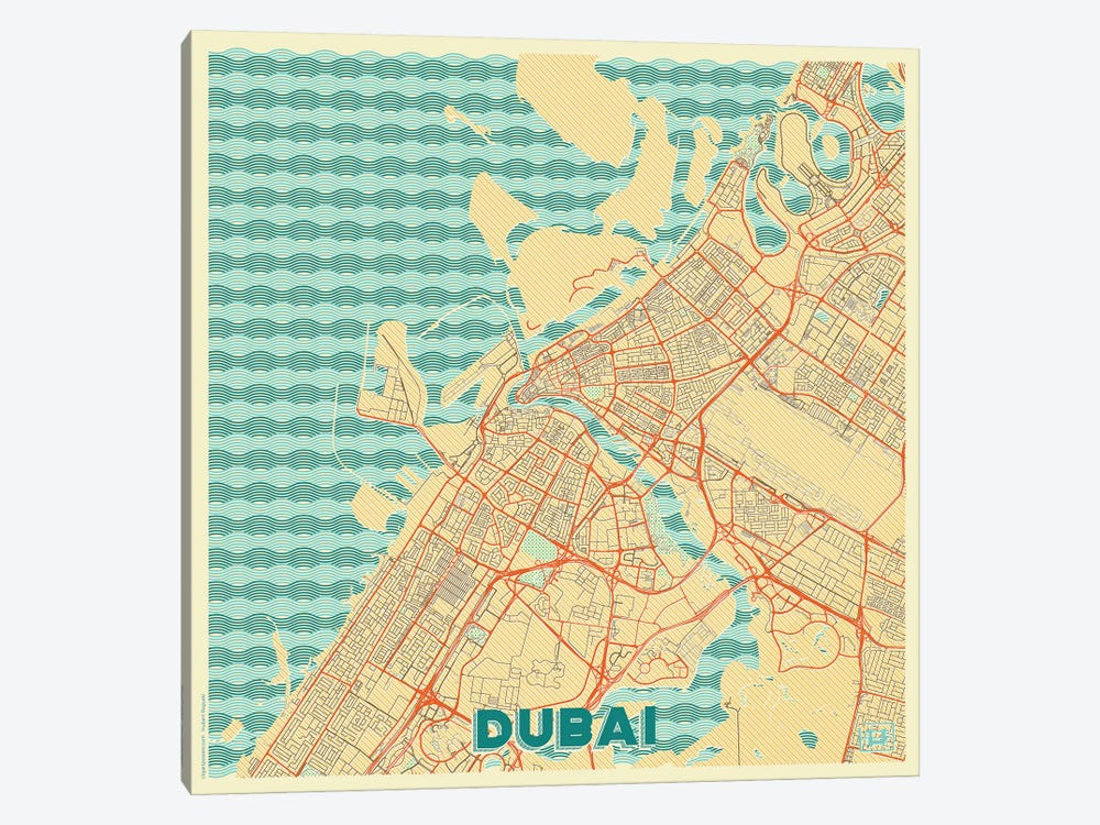 Dubai Retro Urban Blueprint Map by Hubert Roguski 1-piece Canvas Art Print