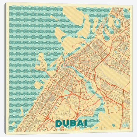 Dubai Retro Urban Blueprint Map Canvas Print #HUR119} by Hubert Roguski Canvas Artwork