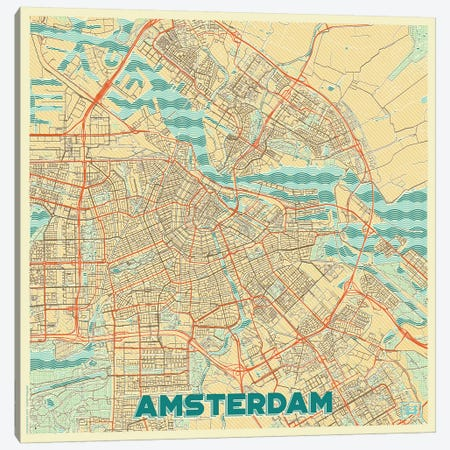 Amsterdam Retro Urban Blueprint Map Canvas Print #HUR11} by Hubert Roguski Canvas Wall Art