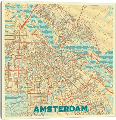 Amsterdam Retro Urban Blueprint Map Canvas Art Print
