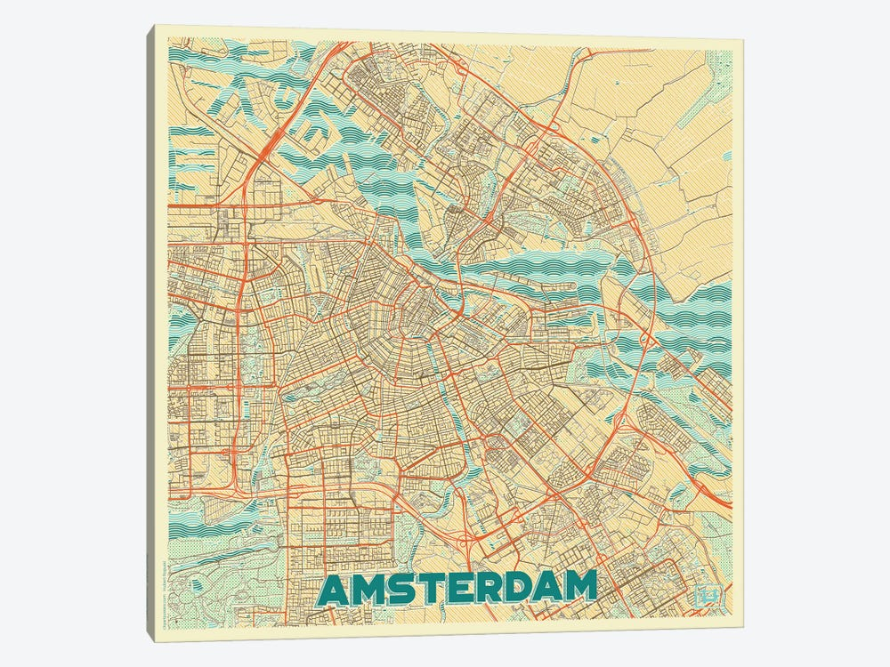 Amsterdam Retro Urban Blueprint Map by Hubert Roguski 1-piece Canvas Artwork