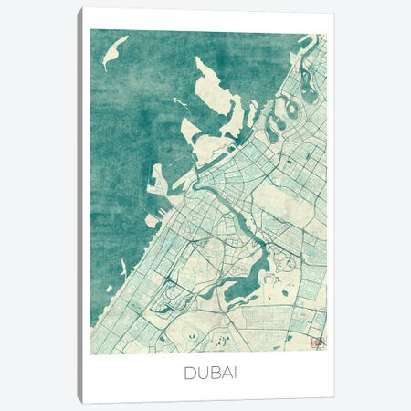 Dubai Vintage Blue Watercolor Urban Blueprint Map Canvas Print #HUR120} by Hubert Roguski Art Print