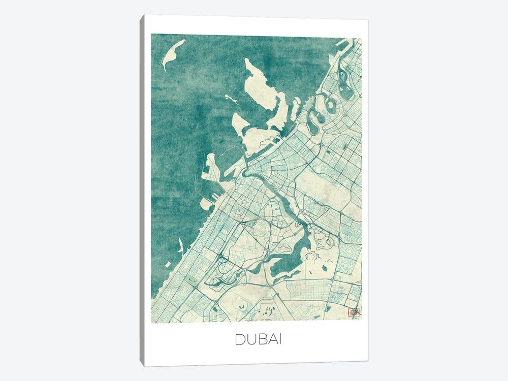 Dubai Vintage Blue Watercolor Urban Blueprint Map by Hubert Roguski 1-piece Art Print