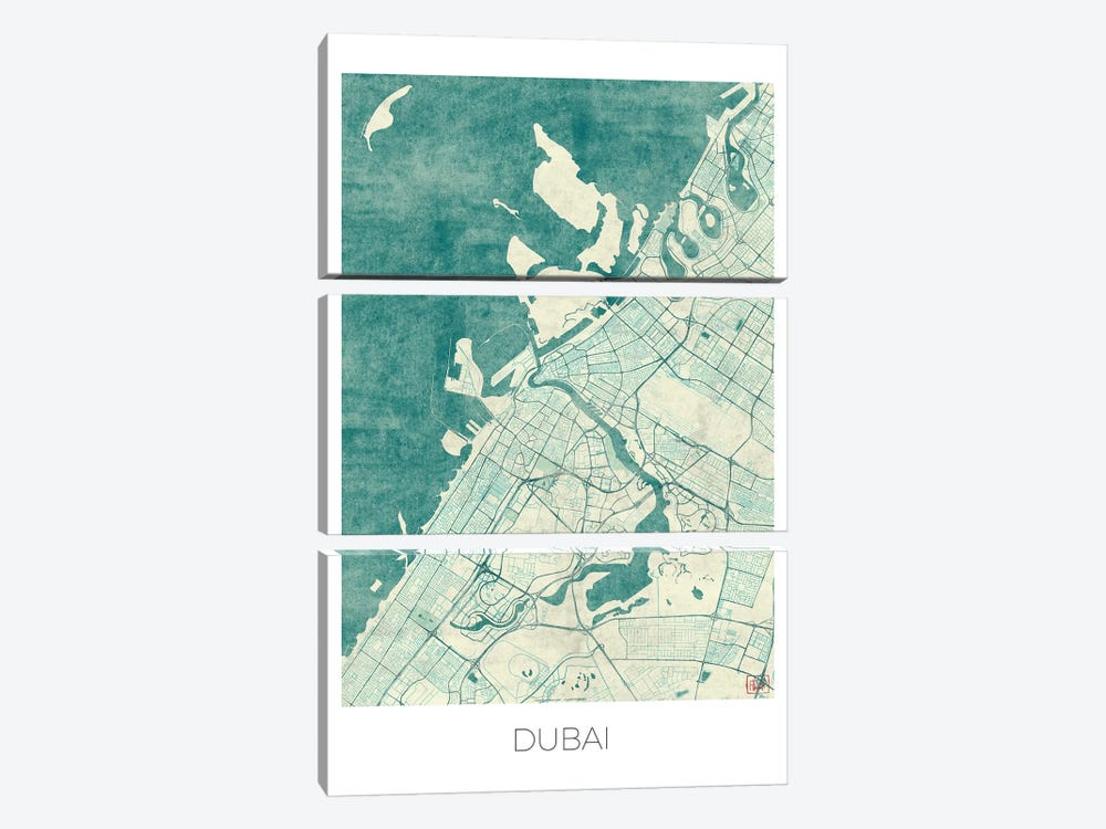 Dubai Vintage Blue Watercolor Urban Blueprint Map by Hubert Roguski 3-piece Art Print