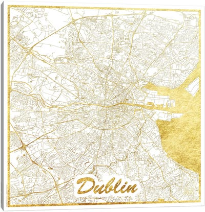 Dublin Gold Leaf Urban Blueprint Map Canvas Art Print