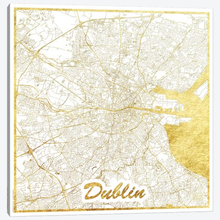 Dublin Gold Leaf Urban Blueprint Map 3-Piece Canvas #HUR121} by Hubert Roguski Art Print