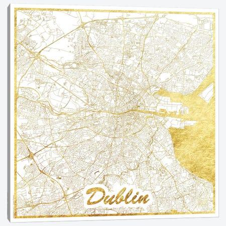 Dublin Gold Leaf Urban Blueprint Map Canvas Print #HUR121} by Hubert Roguski Art Print
