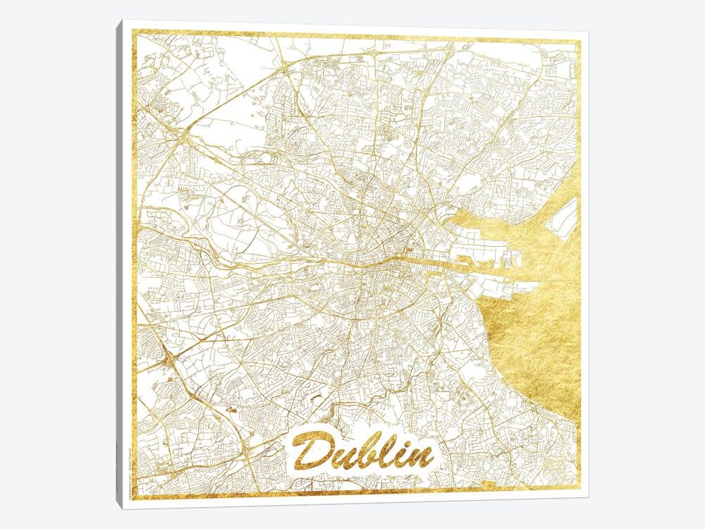Dublin Gold Leaf Urban Blueprint Map by Hubert Roguski 1-piece Canvas Wall Art