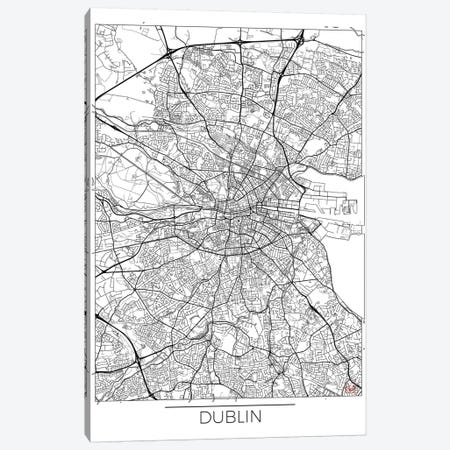 Dublin Minimal Urban Blueprint Map 3-Piece Canvas #HUR122} by Hubert Roguski Canvas Print