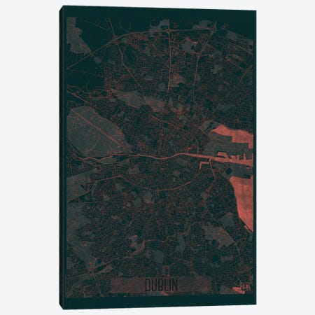 Dublin Infrared Urban Blueprint Map Canvas Print #HUR123} by Hubert Roguski Canvas Print