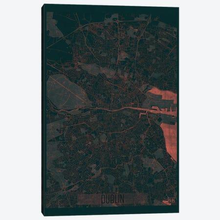 Dublin Infrared Urban Blueprint Map 3-Piece Canvas #HUR123} by Hubert Roguski Canvas Print