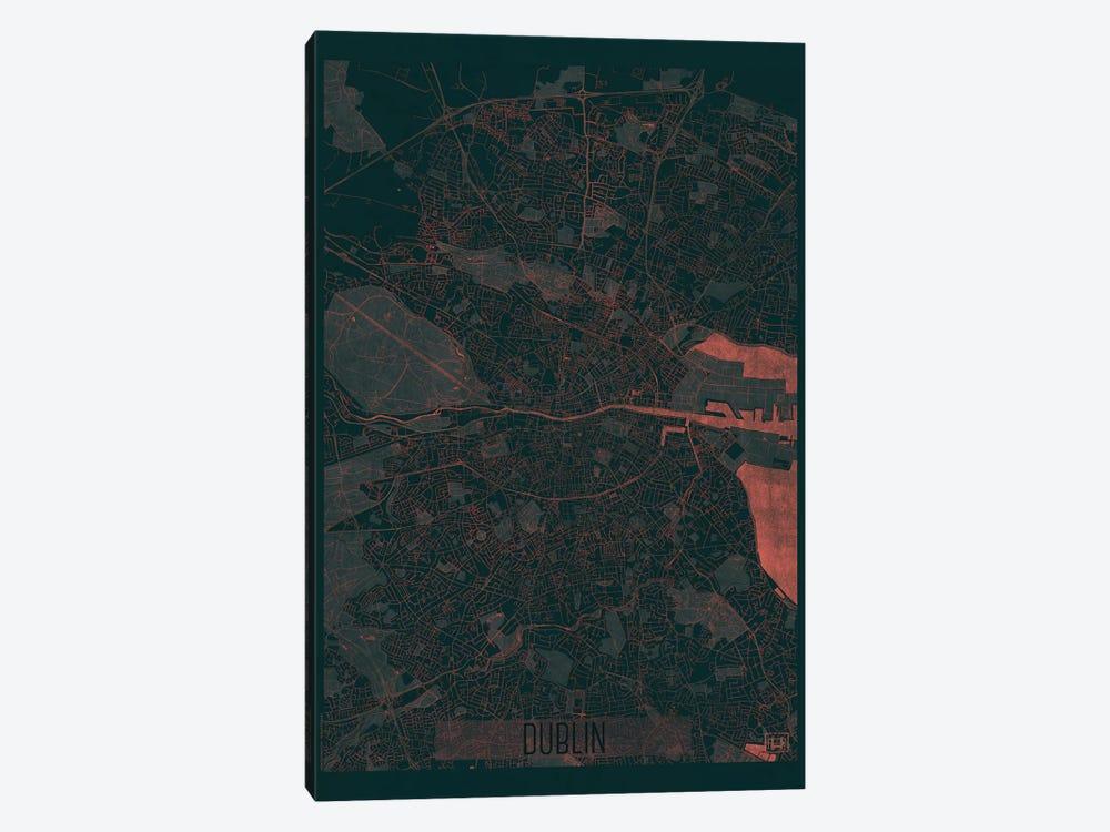 Dublin Infrared Urban Blueprint Map by Hubert Roguski 1-piece Canvas Artwork