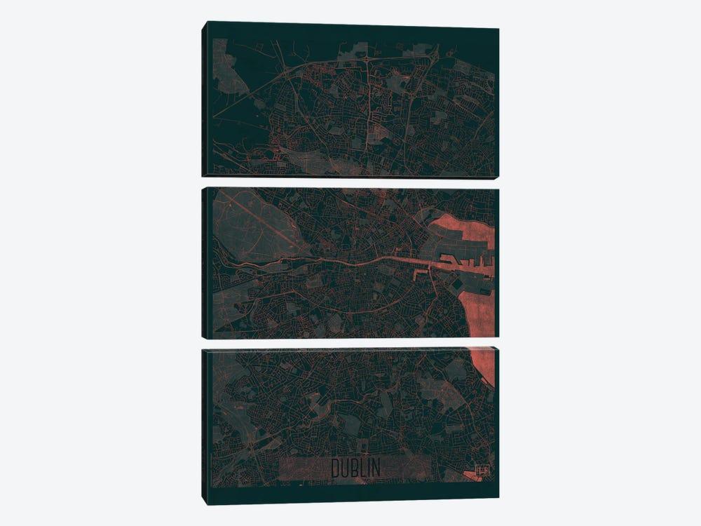 Dublin Infrared Urban Blueprint Map by Hubert Roguski 3-piece Canvas Artwork