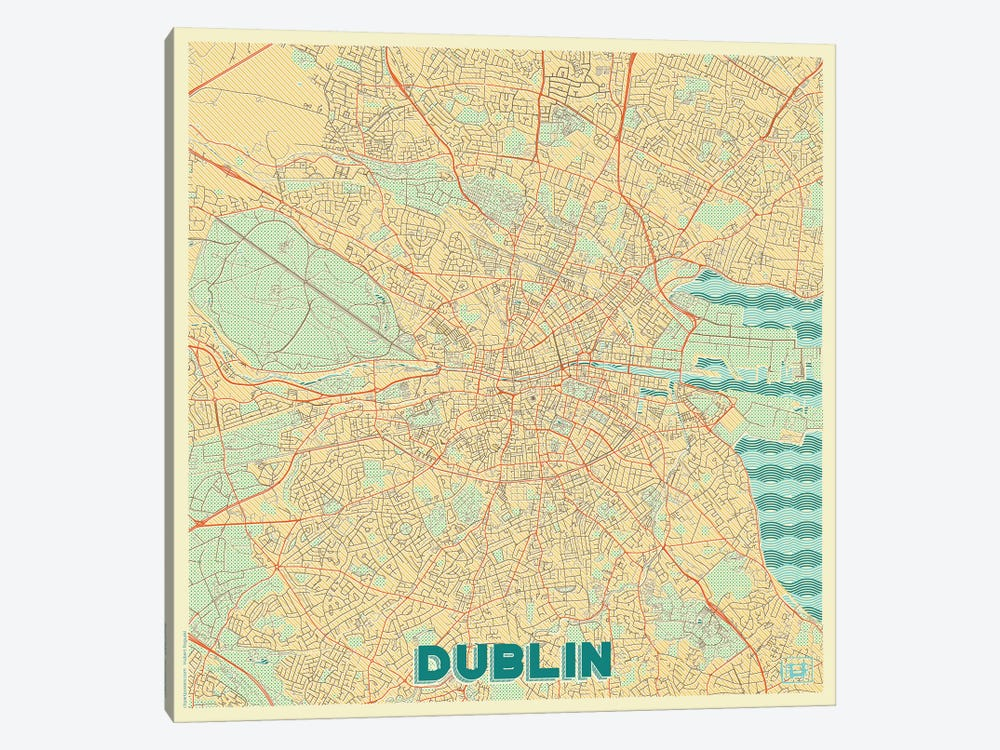 Dublin Retro Urban Blueprint Map by Hubert Roguski 1-piece Canvas Art Print