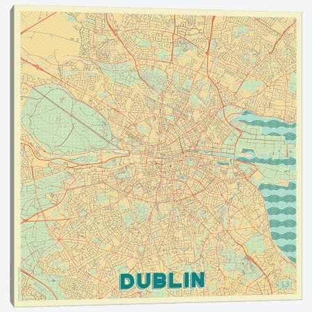 Dublin Retro Urban Blueprint Map 3-Piece Canvas #HUR124} by Hubert Roguski Canvas Artwork