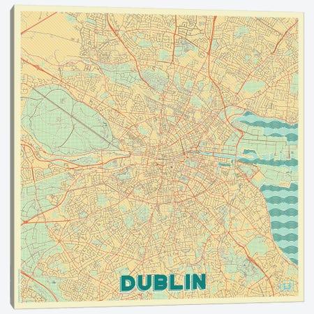 Dublin Retro Urban Blueprint Map Canvas Print #HUR124} by Hubert Roguski Canvas Artwork