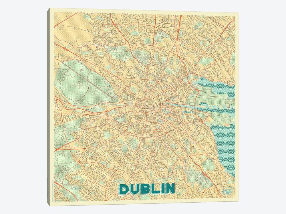 Dublin Retro Urban Blueprint Map by Hubert Roguski 1-piece Canvas Art Print